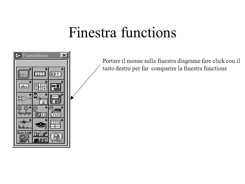 Finestra functions Portare il mouse sulla finestra diagrame fare click con il tasto destro per far comparire la finestra functions