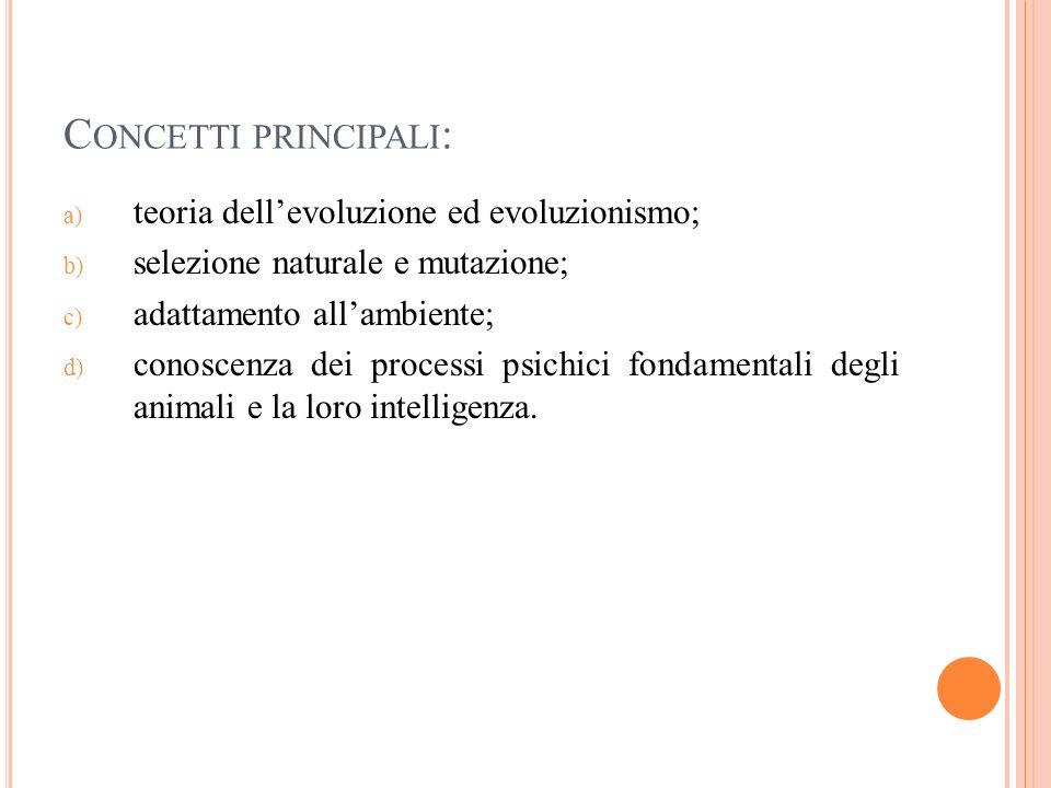 C ONCETTI PRINCIPALI : a) teoria dellevoluzione ed evoluzionismo; b) selezione naturale e mutazione; c) adattamento allambiente; d) conoscenza dei pro