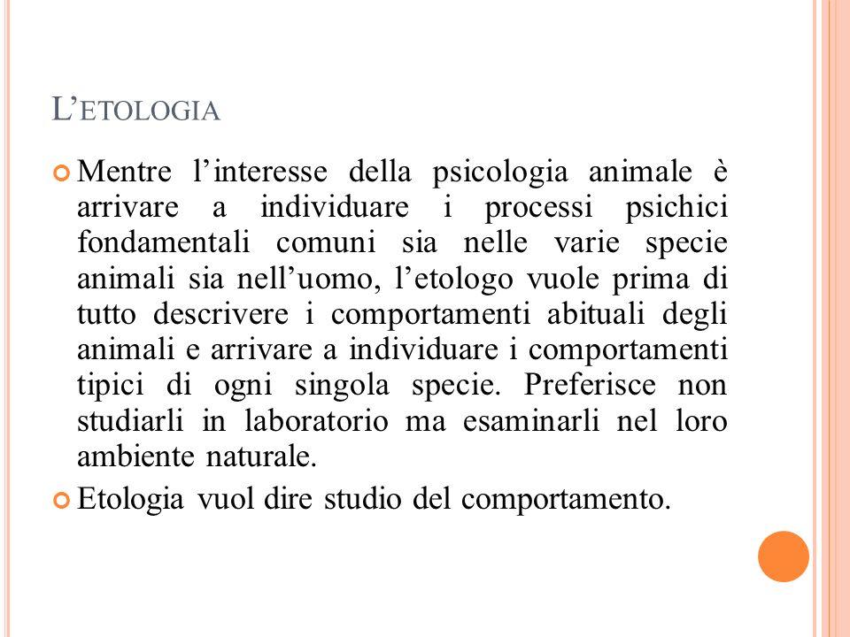 L ETOLOGIA Mentre linteresse della psicologia animale è arrivare a individuare i processi psichici fondamentali comuni sia nelle varie specie animali