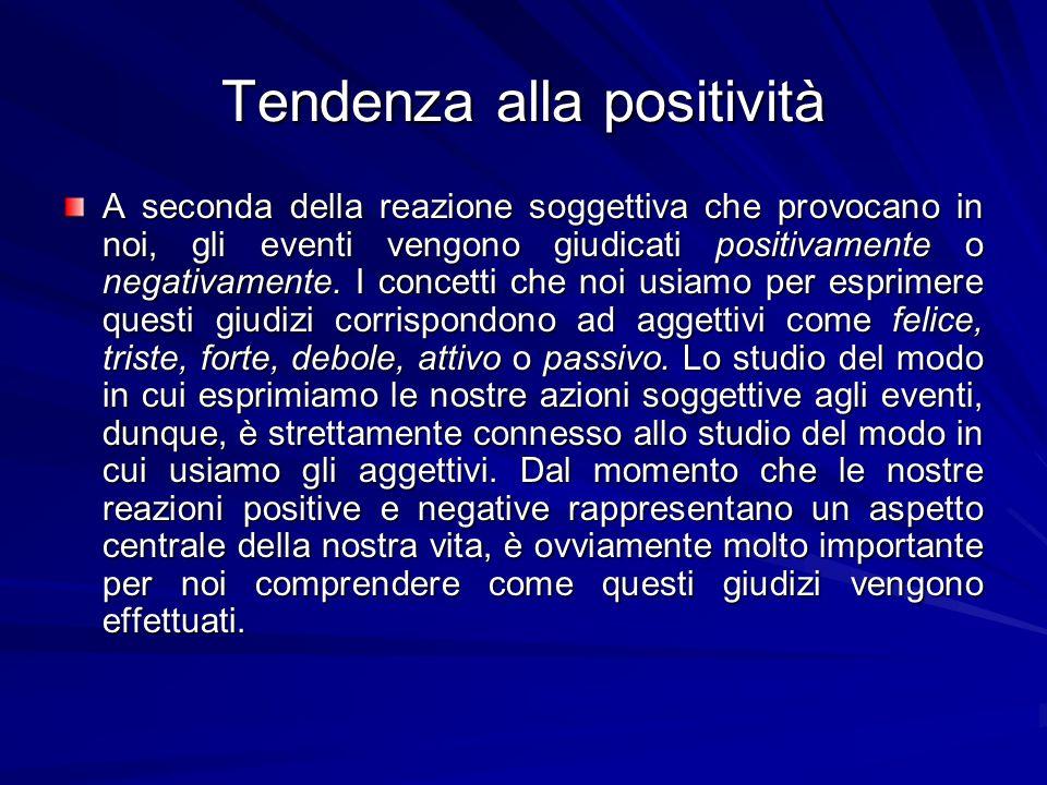 Tendenza alla positività A seconda della reazione soggettiva che provocano in noi, gli eventi vengono giudicati positivamente o negativamente.