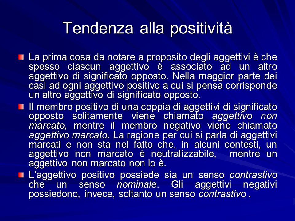 Tendenza alla positività La prima cosa da notare a proposito degli aggettivi è che spesso ciascun aggettivo è associato ad un altro aggettivo di signi