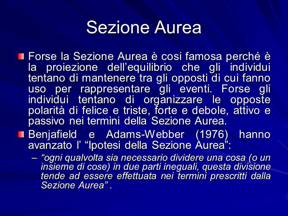 Sezione Aurea Forse la Sezione Aurea è cosi famosa perché è la proiezione dellequilibrio che gli individui tentano di mantenere tra gli opposti di cui fanno uso per rappresentare gli eventi.