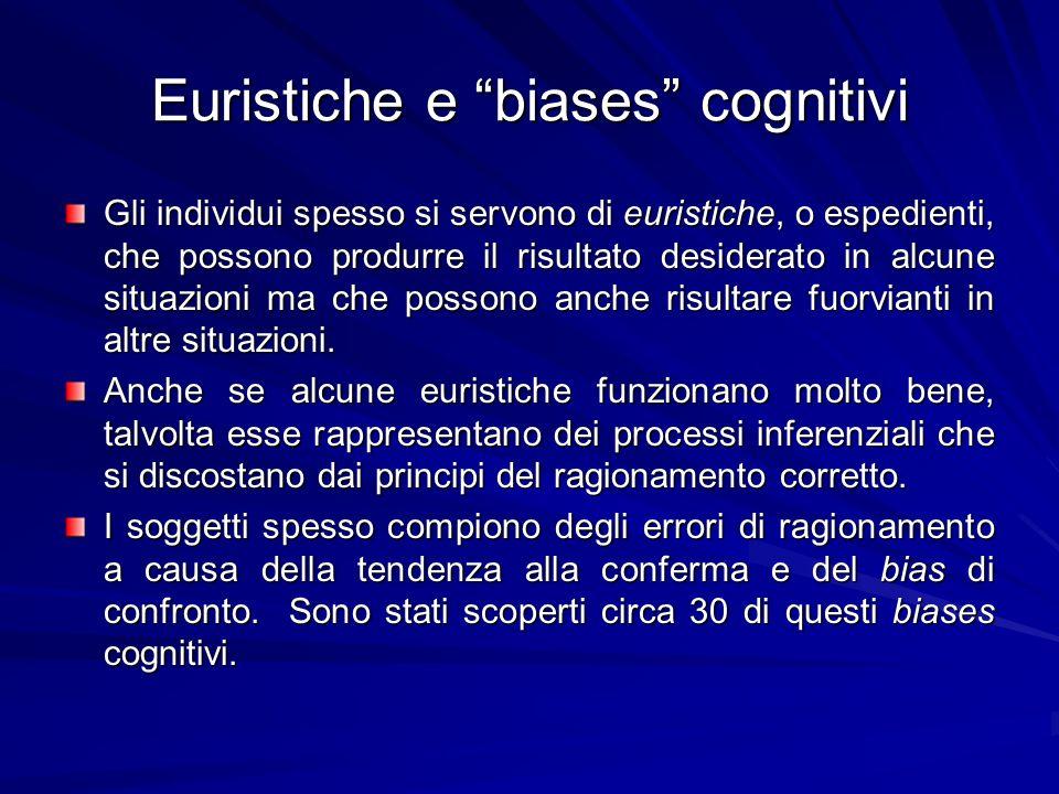 Euristiche e biases cognitivi Gli individui spesso si servono di euristiche, o espedienti, che possono produrre il risultato desiderato in alcune situ
