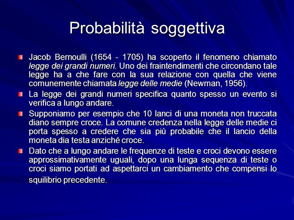 Probabilità soggettiva Jacob Bernoulli (1654 - 1705) ha scoperto il fenomeno chiamato legge dei grandi numeri. Uno dei fraintendimenti che circondano