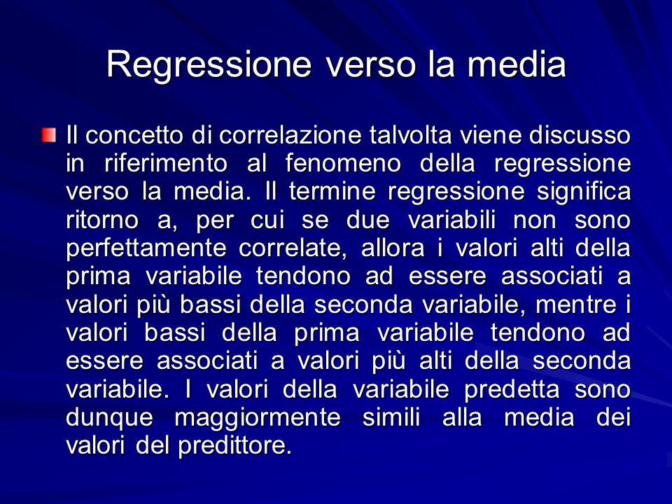 Regressione verso la media Il concetto di correlazione talvolta viene discusso in riferimento al fenomeno della regressione verso la media. Il termine