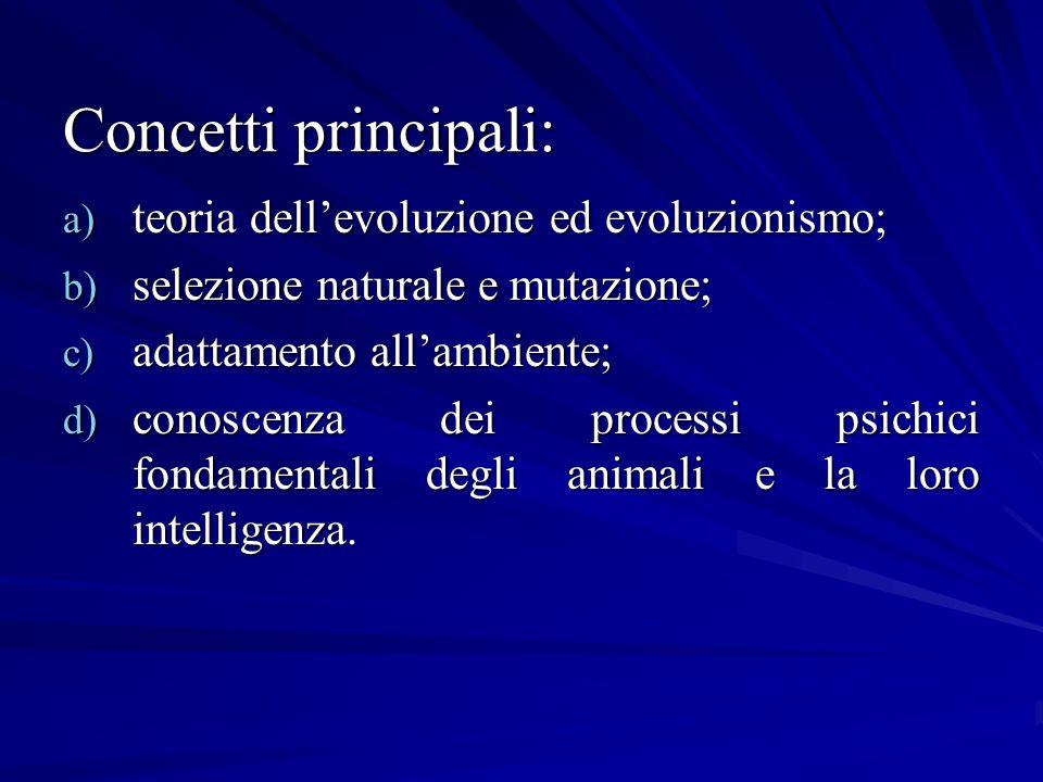 Concetti principali: a) teoria dellevoluzione ed evoluzionismo; b) selezione naturale e mutazione; c) adattamento allambiente; d) conoscenza dei proce