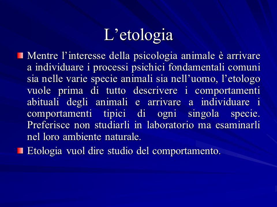 Letologia Mentre linteresse della psicologia animale è arrivare a individuare i processi psichici fondamentali comuni sia nelle varie specie animali s