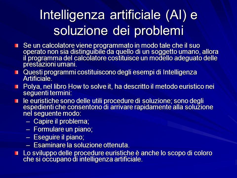 Intelligenza artificiale (AI) e soluzione dei problemi Se un calcolatore viene programmato in modo tale che il suo operato non sia distinguibile da qu