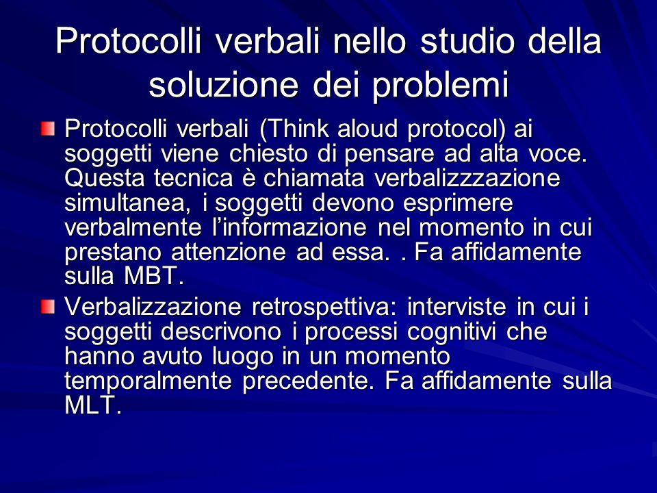 Protocolli verbali nello studio della soluzione dei problemi Protocolli verbali (Think aloud protocol) ai soggetti viene chiesto di pensare ad alta vo
