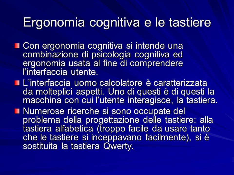 Ergonomia cognitiva e le tastiere Con ergonomia cognitiva si intende una combinazione di psicologia cognitiva ed ergonomia usata al fine di comprender