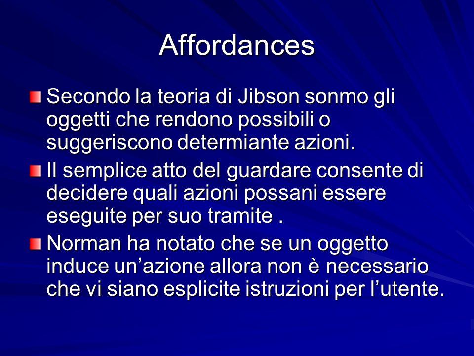 Affordances Secondo la teoria di Jibson sonmo gli oggetti che rendono possibili o suggeriscono determiante azioni. Il semplice atto del guardare conse