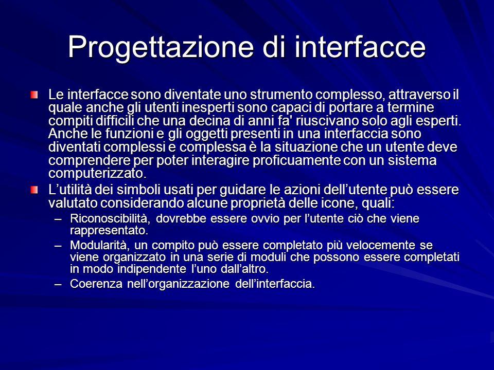 Progettazione di interfacce Le interfacce sono diventate uno strumento complesso, attraverso il quale anche gli utenti inesperti sono capaci di portar