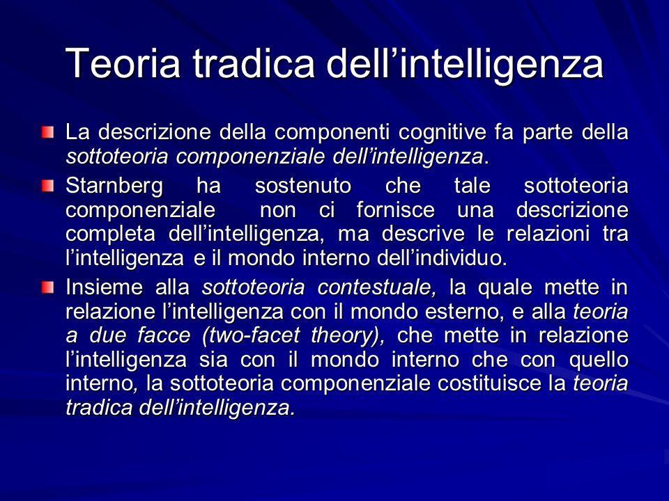 Teoria tradica dellintelligenza La descrizione della componenti cognitive fa parte della sottoteoria componenziale dellintelligenza.
