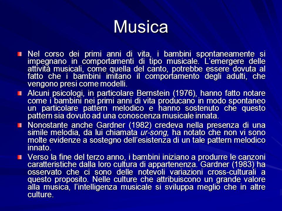 Musica Nel corso dei primi anni di vita, i bambini spontaneamente si impegnano in comportamenti di tipo musicale.