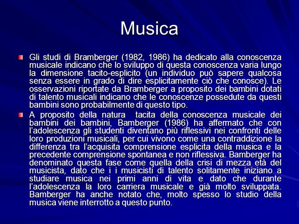 Musica Gli studi di Bramberger (1982, 1986) ha dedicato alla conoscenza musicale indicano che lo sviluppo di questa conoscenza varia lungo la dimensione tacito-esplicito (un individuo può sapere qualcosa senza essere in grado di dire esplicitamente ciò che conosce).