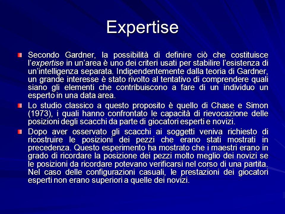 Expertise Secondo Gardner, la possibilità di definire ciò che costituisce lexpertise in unarea è uno dei criteri usati per stabilire lesistenza di unintelligenza separata.