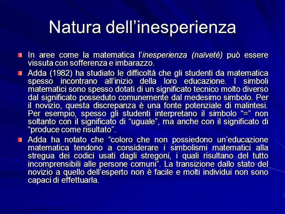 Natura dellinesperienza In aree come la matematica linesperienza (naïveté) può essere vissuta con sofferenza e imbarazzo.