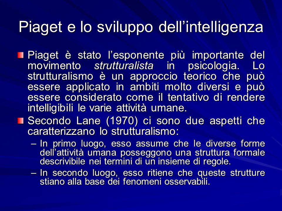 Piaget e lo sviluppo dellintelligenza Piaget è stato lesponente più importante del movimento strutturalista in psicologia.