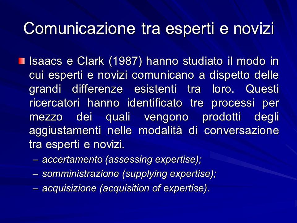 Comunicazione tra esperti e novizi Isaacs e Clark (1987) hanno studiato il modo in cui esperti e novizi comunicano a dispetto delle grandi differenze esistenti tra loro.