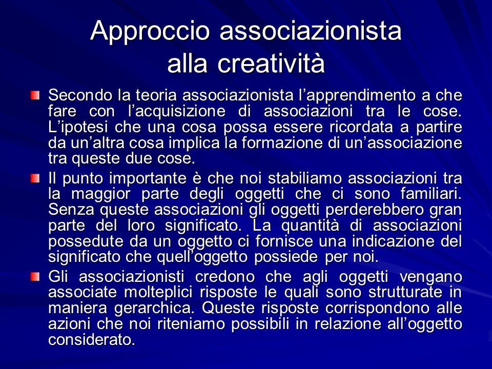 Approccio associazionista alla creatività Secondo la teoria associazionista lapprendimento a che fare con lacquisizione di associazioni tra le cose.