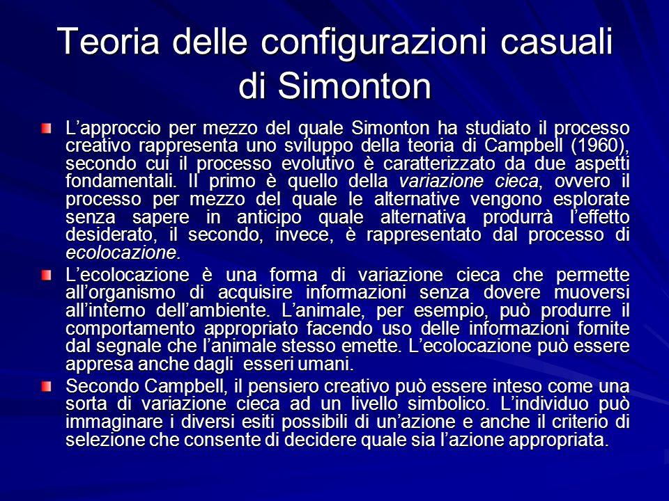 Teoria delle configurazioni casuali di Simonton Lapproccio per mezzo del quale Simonton ha studiato il processo creativo rappresenta uno sviluppo della teoria di Campbell (1960), secondo cui il processo evolutivo è caratterizzato da due aspetti fondamentali.