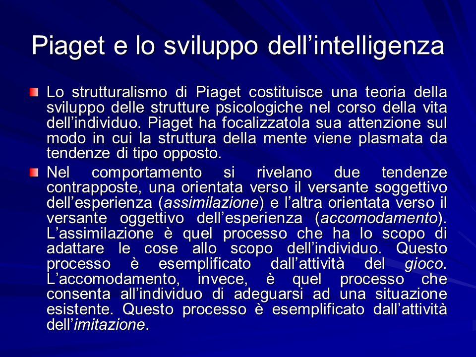 Piaget e lo sviluppo dellintelligenza Lo strutturalismo di Piaget costituisce una teoria della sviluppo delle strutture psicologiche nel corso della vita dellindividuo.