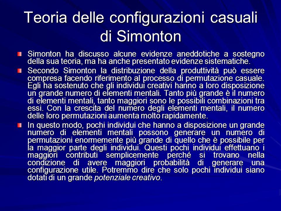 Teoria delle configurazioni casuali di Simonton Simonton ha discusso alcune evidenze aneddotiche a sostegno della sua teoria, ma ha anche presentato evidenze sistematiche.