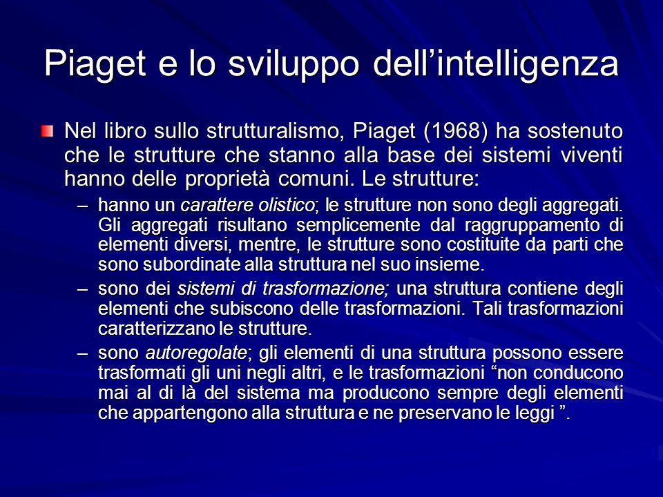 Piaget e lo sviluppo dellintelligenza Nel libro sullo strutturalismo, Piaget (1968) ha sostenuto che le strutture che stanno alla base dei sistemi viventi hanno delle proprietà comuni.