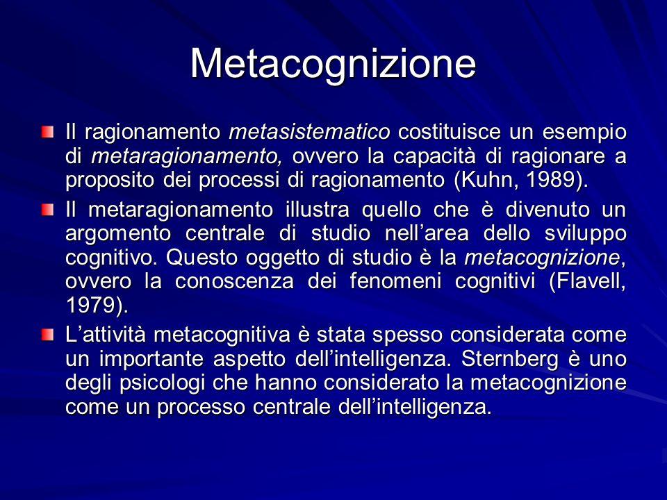 Metacognizione Il ragionamento metasistematico costituisce un esempio di metaragionamento, ovvero la capacità di ragionare a proposito dei processi di ragionamento (Kuhn, 1989).