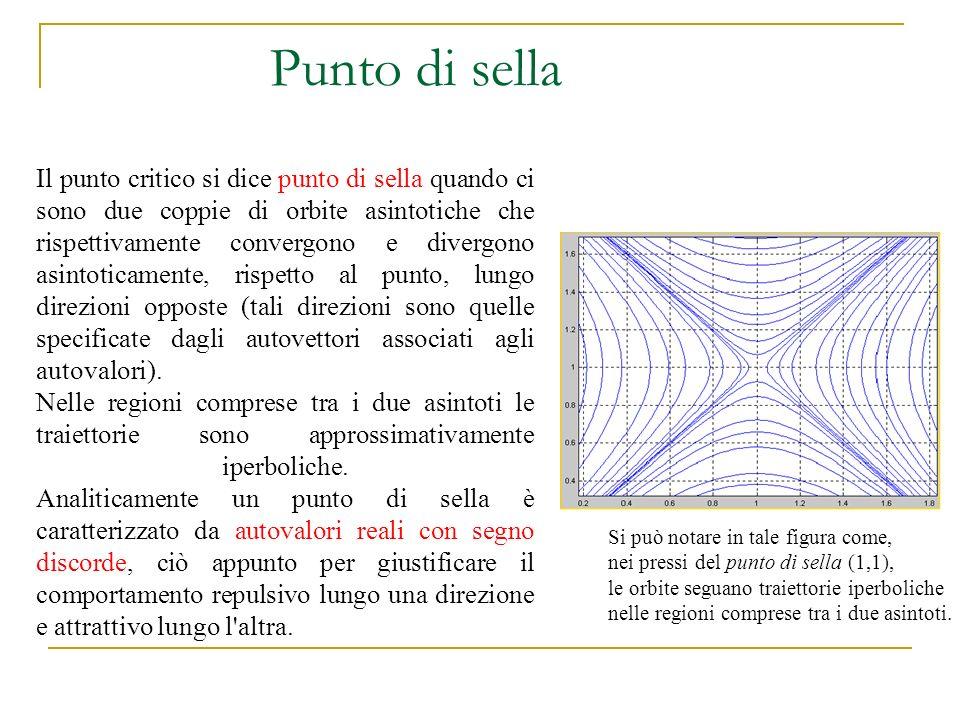 Punto di sella Il punto critico si dice punto di sella quando ci sono due coppie di orbite asintotiche che rispettivamente convergono e divergono asin