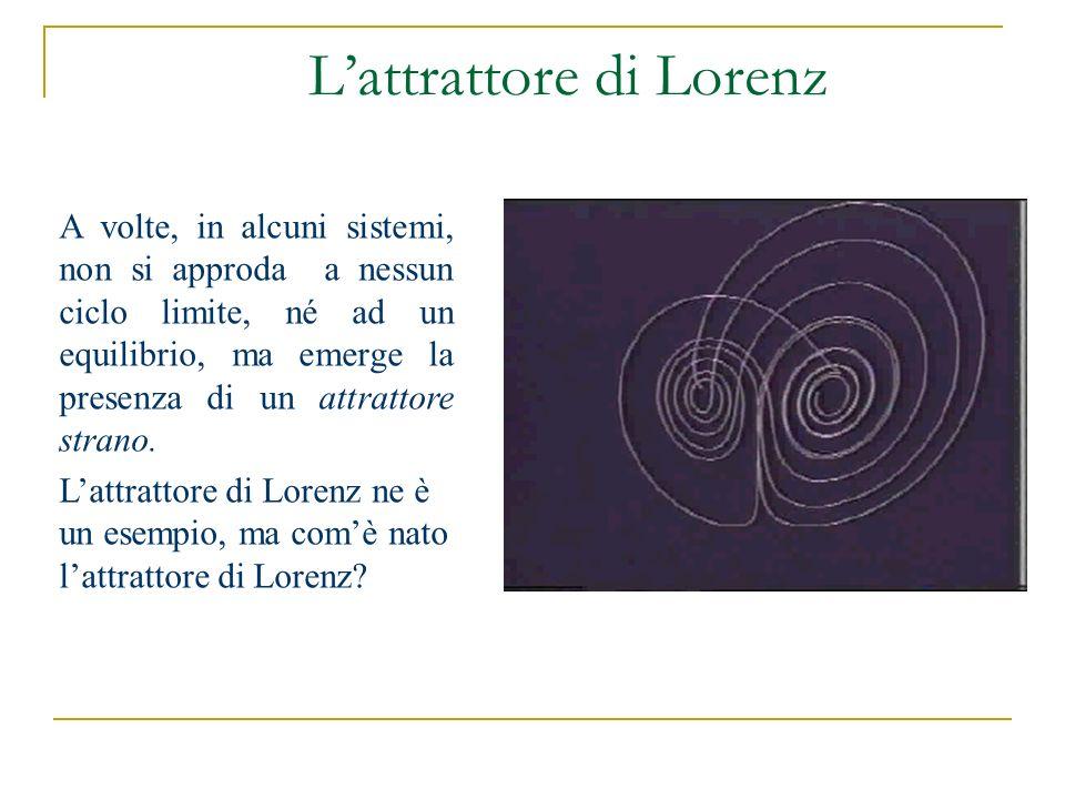 Lattrattore di Lorenz A volte, in alcuni sistemi, non si approda a nessun ciclo limite, né ad un equilibrio, ma emerge la presenza di un attrattore st