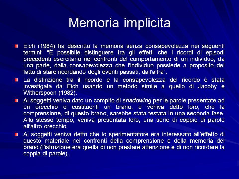 Memoria implicita Eich (1984) ha descritto la memoria senza consapevolezza nei seguenti termini: È possibile distinguere tra gli effetti che i ricordi di episodi precedenti esercitano nei confronti del comportamento di un individuo, da una parte, dalla consapevolezza che lindividuo possiede a proposito del fatto di stare ricordando degli eventi passati, dallaltra.