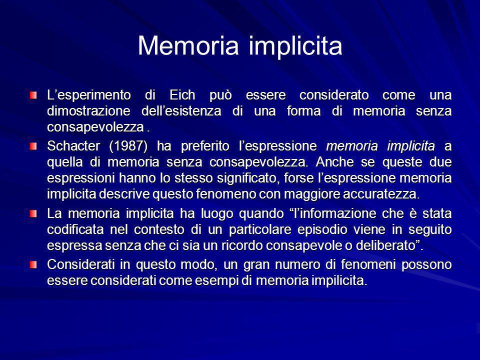 Memoria implicita Lesperimento di Eich può essere considerato come una dimostrazione dellesistenza di una forma di memoria senza consapevolezza.