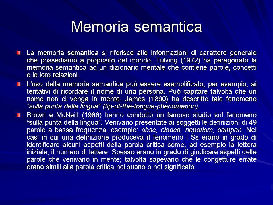 Memoria semantica La memoria semantica si riferisce alle informazioni di carattere generale che possediamo a proposito del mondo.