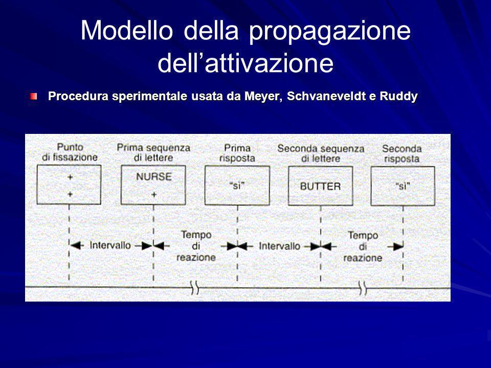 Modello della propagazione dellattivazione Procedura sperimentale usata da Meyer, Schvaneveldt e Ruddy