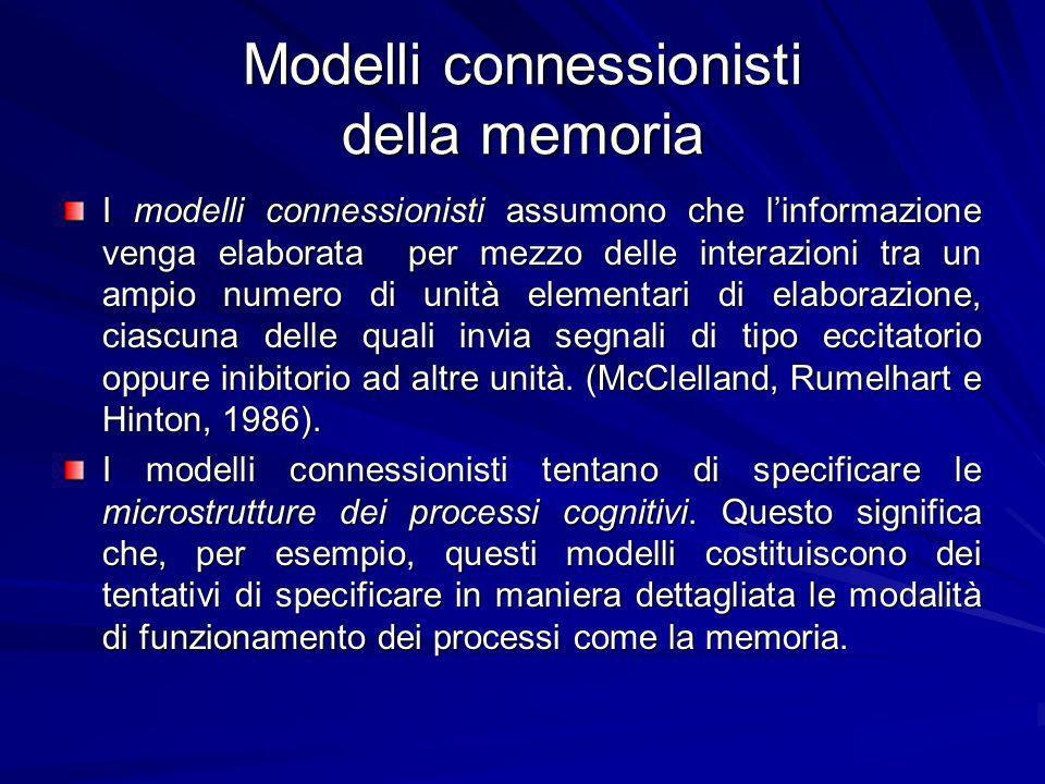Modelli connessionisti della memoria I modelli connessionisti assumono che linformazione venga elaborata per mezzo delle interazioni tra un ampio numero di unità elementari di elaborazione, ciascuna delle quali invia segnali di tipo eccitatorio oppure inibitorio ad altre unità.