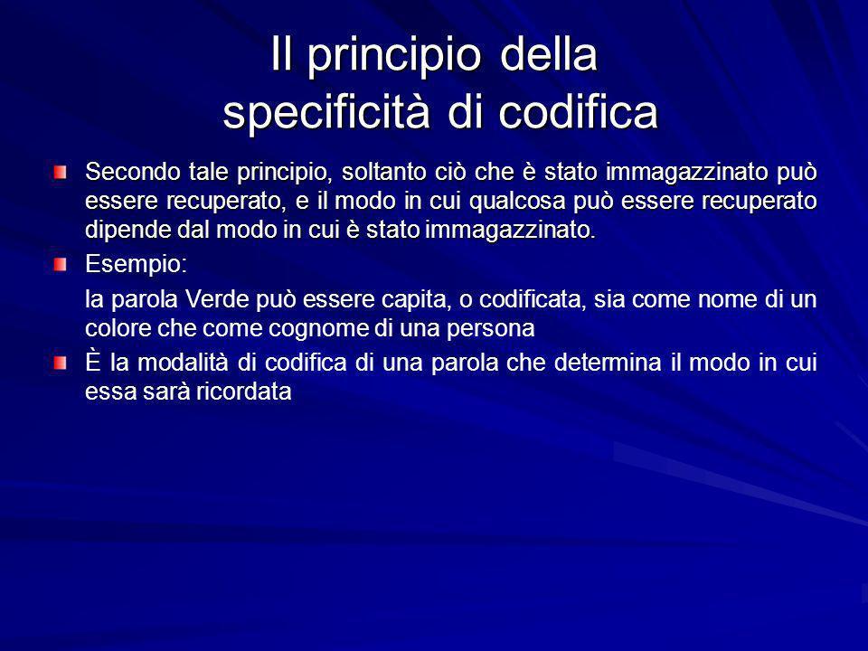 Il principio della specificità di codifica Secondo tale principio, soltanto ciò che è stato immagazzinato può essere recuperato, e il modo in cui qualcosa può essere recuperato dipende dal modo in cui è stato immagazzinato.