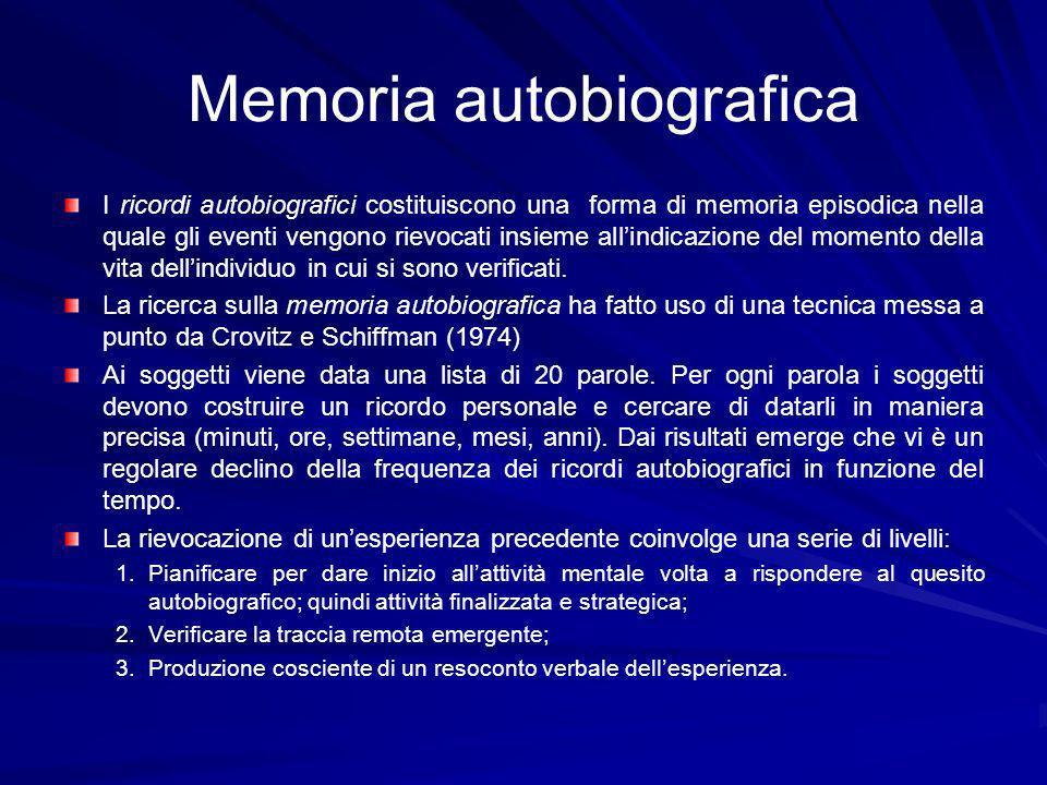 Memoria autobiografica I ricordi autobiografici costituiscono una forma di memoria episodica nella quale gli eventi vengono rievocati insieme allindicazione del momento della vita dellindividuo in cui si sono verificati.