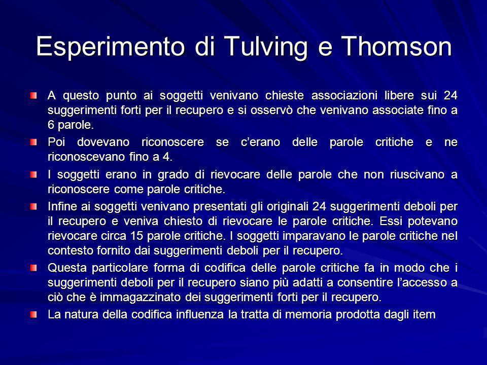 Esperimento di Tulving e Thomson A questo punto ai soggetti venivano chieste associazioni libere sui 24 suggerimenti forti per il recupero e si osservò che venivano associate fino a 6 parole.