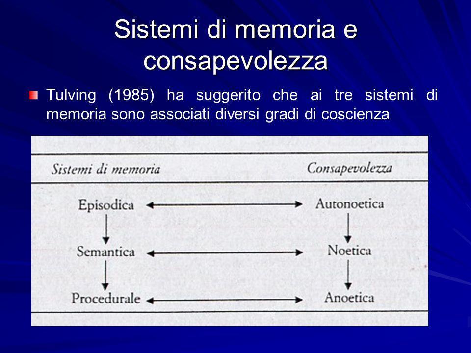 Sistemi di memoria e consapevolezza La memoria procedurale è anoetica (tale termine significa privo di conoscenza) nel senso che, quando facciamo uso di questa memoria, siamo consapevoli soltanto di ciò che caratterizza la situazione immediata in cui ci troviamo.