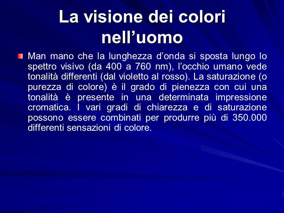 La visione dei colori nelluomo Man mano che la lunghezza donda si sposta lungo lo spettro visivo (da 400 a 760 nm), locchio umano vede tonalità differ