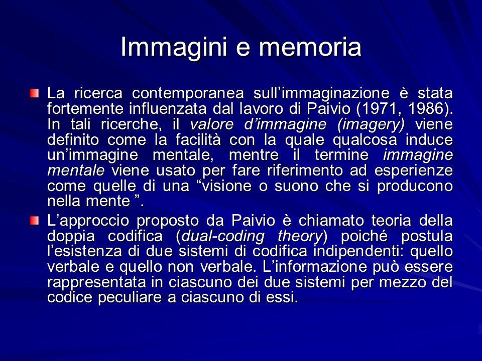 Immagini e memoria La ricerca contemporanea sullimmaginazione è stata fortemente influenzata dal lavoro di Paivio (1971, 1986). In tali ricerche, il v