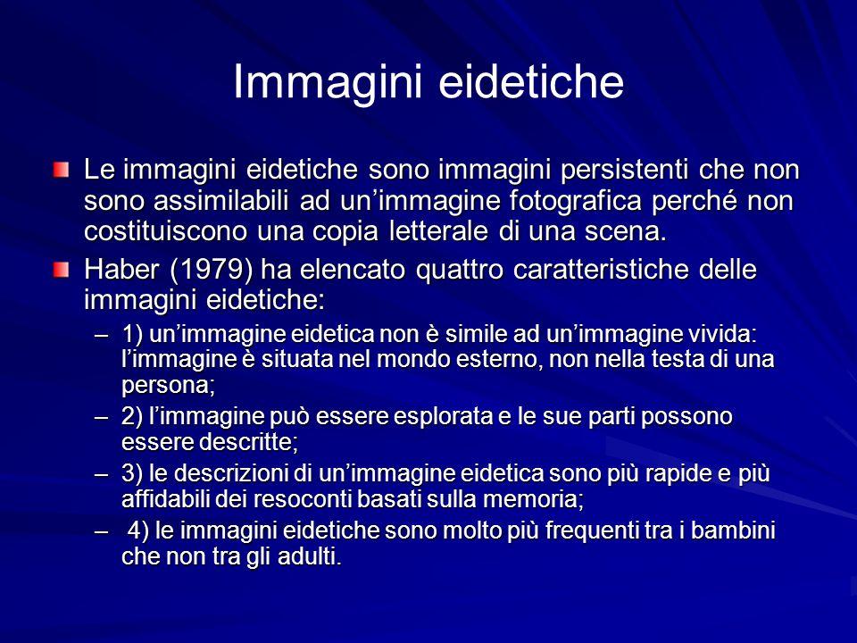 Immagini eidetiche Le immagini eidetiche sono immagini persistenti che non sono assimilabili ad unimmagine fotografica perché non costituiscono una co