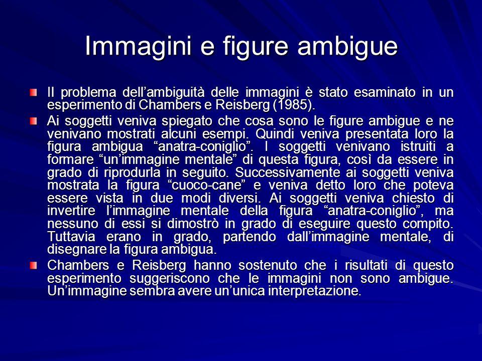 Immagini e figure ambigue Il problema dellambiguità delle immagini è stato esaminato in un esperimento di Chambers e Reisberg (1985). Ai soggetti veni