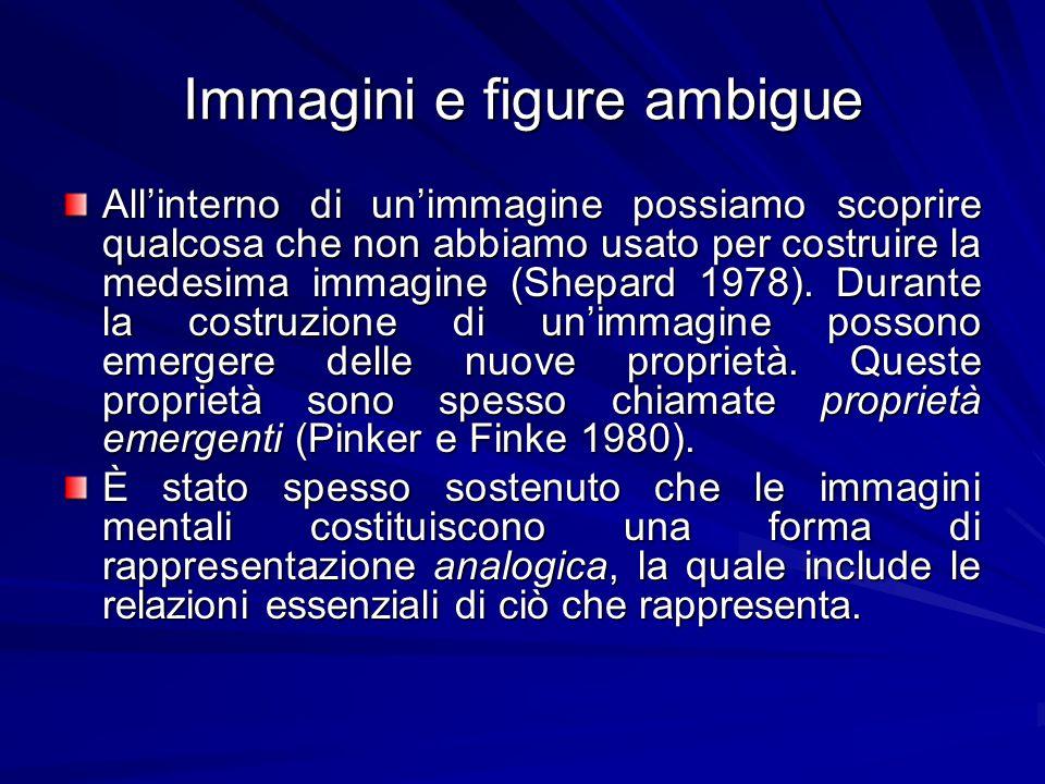 Immagini e figure ambigue Allinterno di unimmagine possiamo scoprire qualcosa che non abbiamo usato per costruire la medesima immagine (Shepard 1978).