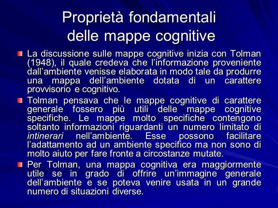 Proprietà fondamentali delle mappe cognitive La discussione sulle mappe cognitive inizia con Tolman (1948), il quale credeva che linformazione proveni