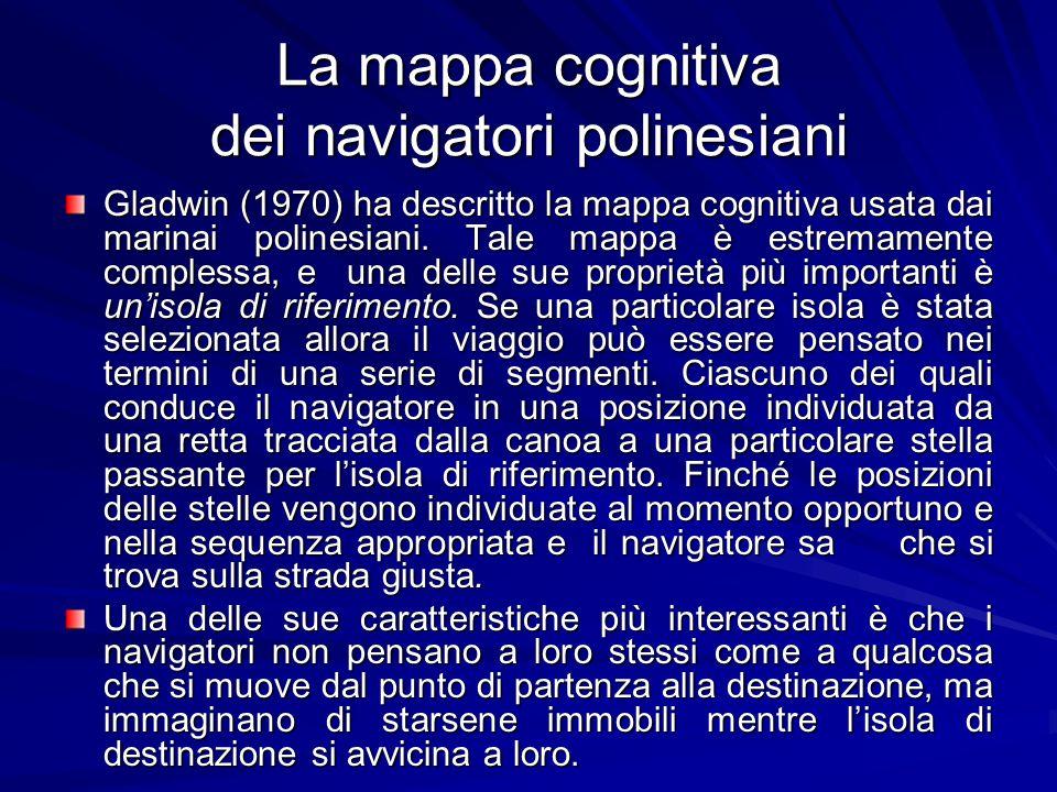 La mappa cognitiva dei navigatori polinesiani Gladwin (1970) ha descritto la mappa cognitiva usata dai marinai polinesiani. Tale mappa è estremamente
