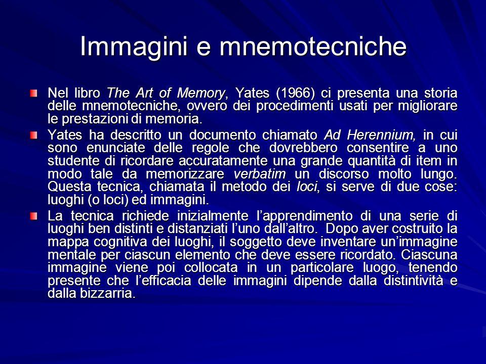 Immagini e mnemotecniche Nel libro The Art of Memory, Yates (1966) ci presenta una storia delle mnemotecniche, ovvero dei procedimenti usati per migli