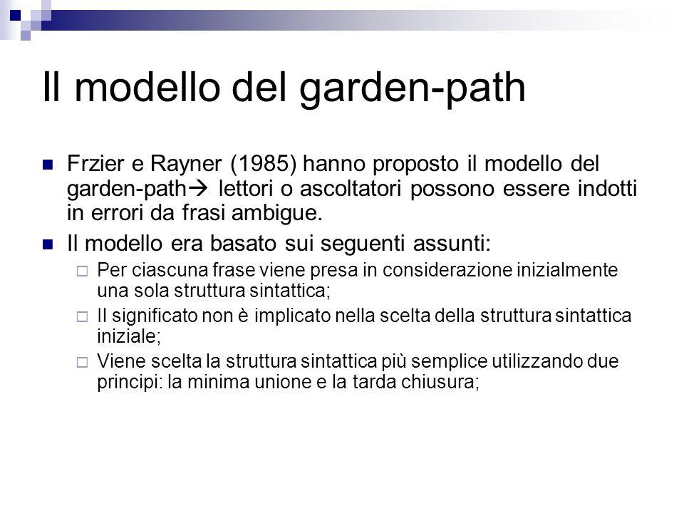 Il modello del garden-path Frzier e Rayner (1985) hanno proposto il modello del garden-path lettori o ascoltatori possono essere indotti in errori da