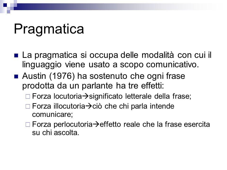 Pragmatica La pragmatica si occupa delle modalità con cui il linguaggio viene usato a scopo comunicativo. Austin (1976) ha sostenuto che ogni frase pr